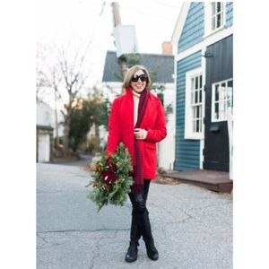 J Jill Ultra Soft Perfect Red Cambridge Coat